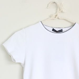NWT Brandy Melville Embroidered Neck Top Tee